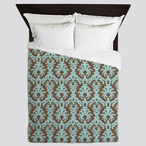 Turquoise and Brown Damask Queen Duvet