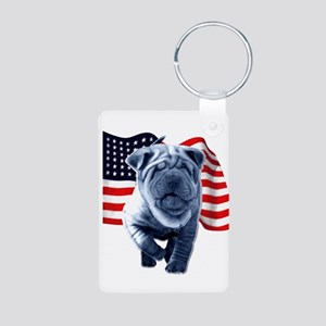 Shar-Pei Aluminum Photo Keychain