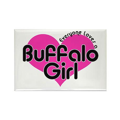 Everyone Loves a Buffalo Girl Rectangle Magnet