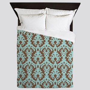 Chocolate Brown and Turquoise Damask Queen Duvet