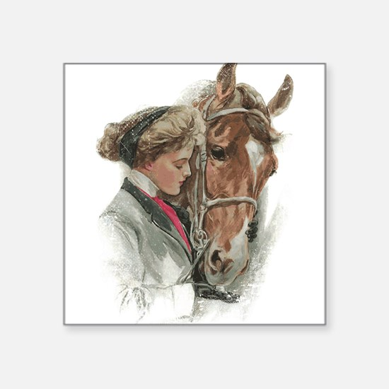 Vintage Girl And Horse Sticker