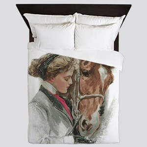 Vintage Girl And Horse Queen Duvet