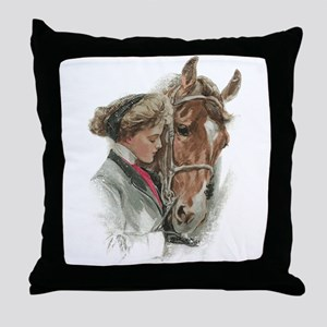 Vintage Girl And Horse Throw Pillow