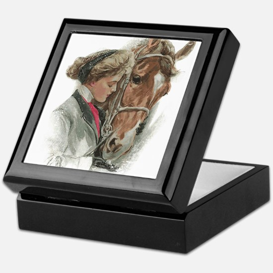 Vintage Girl And Horse Keepsake Box