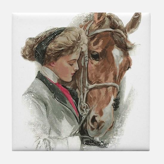 Vintage Girl And Horse Tile Coaster