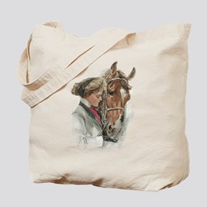 Vintage Girl And Horse Tote Bag