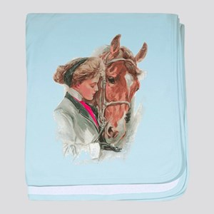 Vintage Girl And Horse baby blanket