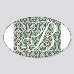 B Initial Damask Turquoise and Chocolate Sticker