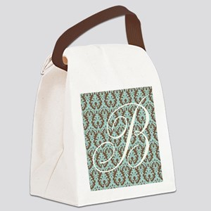 B Initial Damask Turquoise and Chocolate Canvas Lu