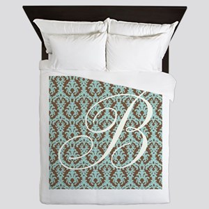 B Initial Damask Turquoise and Chocolate Queen Duv