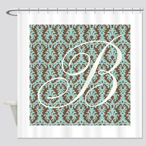 B Initial Damask Turquoise and Chocolate Shower Cu