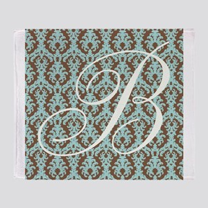 B Initial Damask Turquoise and Chocolate Throw Bl