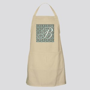 B Initial Damask Turquoise and Chocolate Apron