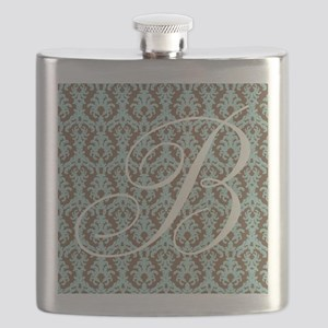 B Initial Damask Turquoise and Chocolate Flask