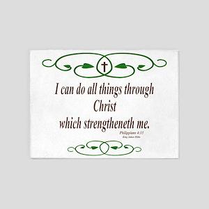 Philippians 4 13 Bible Verse 5'x7'Area Rug