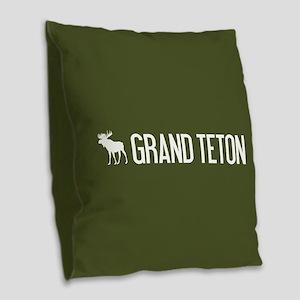 Grand Teton Moose Burlap Throw Pillow