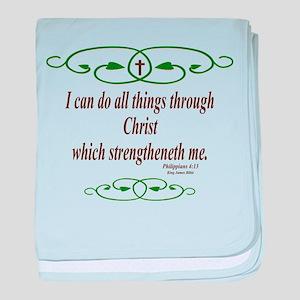Philippians 4 13 Bible Verse baby blanket