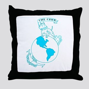 Pit Bull, Globe, and Anchor (Teal) Throw Pillow