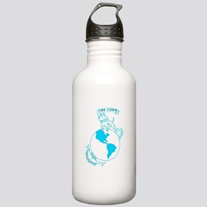 Pit Bull, Globe, and Anchor (Teal) Water Bottle