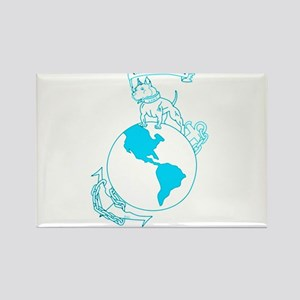 Pit Bull, Globe, and Anchor (Teal) Rectangle Magne