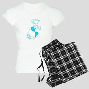 Pit Bull, Globe, and Anchor (Teal) Pajamas