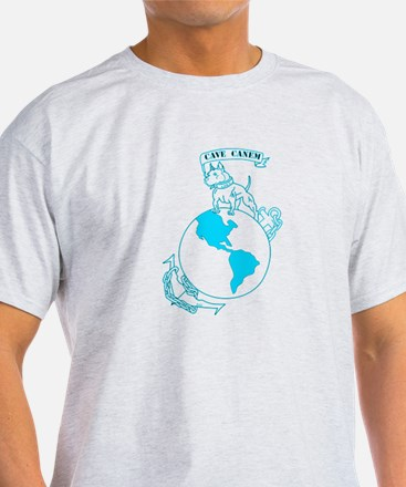 Pit Bull, Globe, and Anchor (Teal) T-Shirt