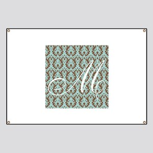 M Initial Damask Turquoise and Chocolate Banner