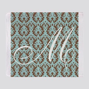M Initial Damask Turquoise and Chocolate Throw Bl