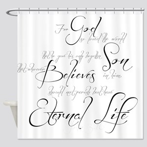 John 3:16 script Shower Curtain