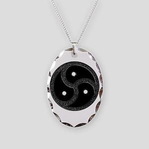 BDSM Emblem - Chrome Look Necklace Oval Charm