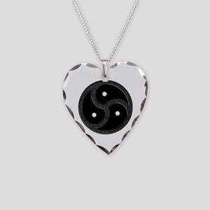 BDSM Emblem - Chrome Look Necklace Heart Charm