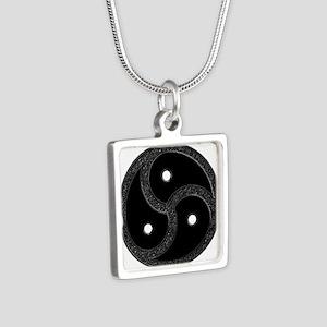 BDSM Emblem - Chrome Look Silver Square Necklace