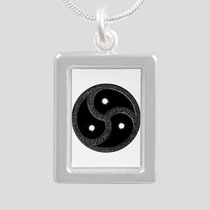 BDSM Emblem - Chrome Look Silver Portrait Necklace