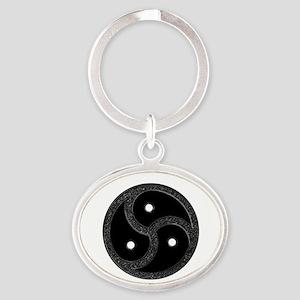 BDSM Emblem - Chrome Look Oval Keychain