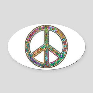 Peace Oval Car Magnet