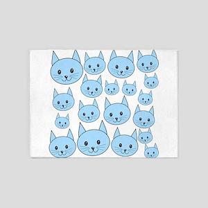 Light Blue Cats. 5'x7'Area Rug