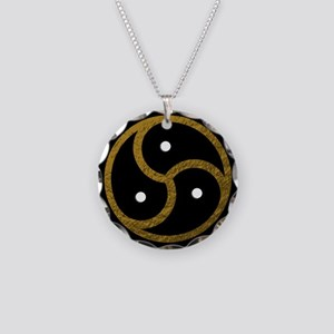 Gold Metal Look BDSM Emblem Necklace Circle Charm