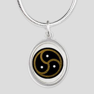 Gold Metal Look BDSM Emblem Silver Oval Necklace