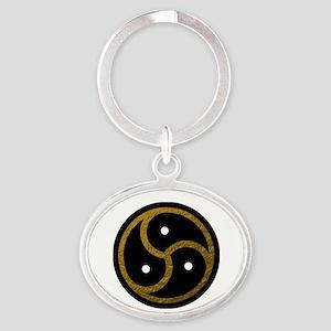 Gold Metal Look BDSM Emblem Oval Keychain