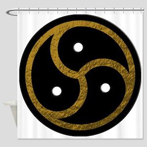 Gold Metal Look BDSM Emblem Shower Curtain
