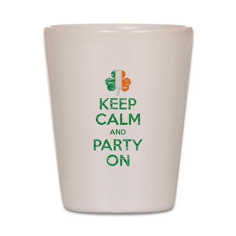 Keep Calm And Party On Irish Flag Shamrock Shot Gl