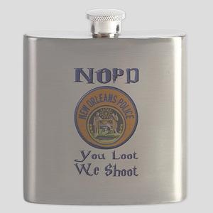 NOPD You Loot We Shoot Flask