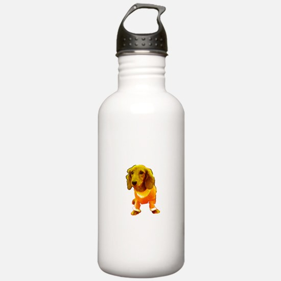 Orange Hawaiian Dachshund Designer Water Bottle