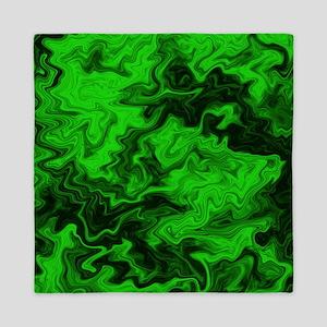 Green Random Design. Queen Duvet