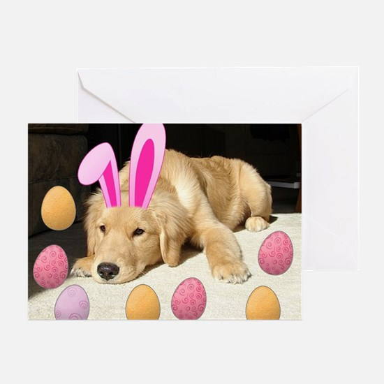 Happy Easter Golden Retriever Puppy Greeting Card