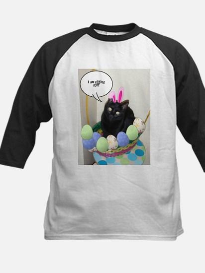 Happy Easter Black Cat Kids Baseball Jersey