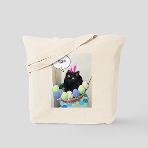 Happy Easter Black Cat Tote Bag