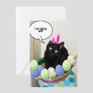 Happy Easter Black Cat Greeting Card