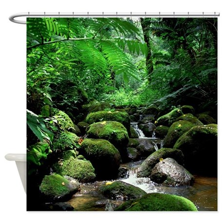 Tropical Rainforest Stream Hawaii Shower Curtain by ...