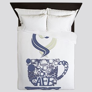 Coffee Cup Art Queen Duvet